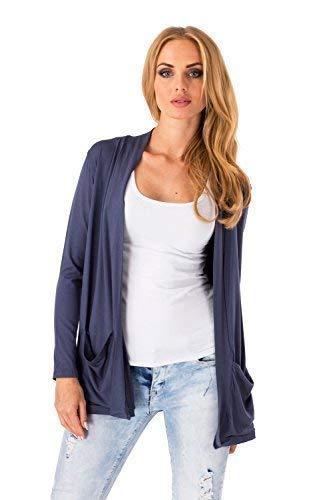 FUTURO FASHION Women's Smart Jersey Cardigan with Pockets Loose Long Sleeve Blazer Bolero Style 8546 Graphite 16 (XXL)