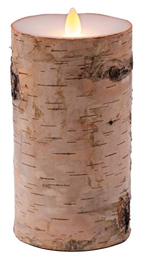 Flameless Candles Flickering Flame Effect Real Wax (D 3.5' x H 7'), Real Birch Bark Battery Operated LED Pillar Candles Real Wax with Timer and Remote to Buy Separately