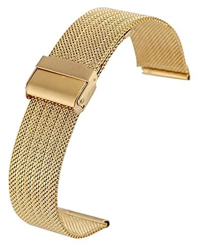 FETTR Correa de reloj de 18 mm, 20 mm, 22 mm, 24 mm, correa de reloj de malla de acero inoxidable plateada con hebilla de gancho, pulsera de repuesto 11 (color: dorado, tamaño: 22 mm)