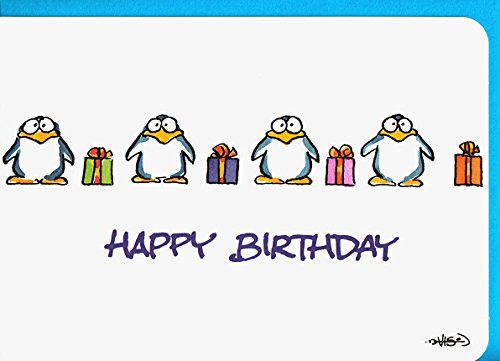 Happy Birthday Karte Pinguine mit Geschenken A6