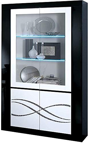 Displaykabinett 2 Tür mit LED Die große Speicherkapazität ermöglicht es Ihnen, die meisten Artikel an einem sicheren Ort zu lagern,Black