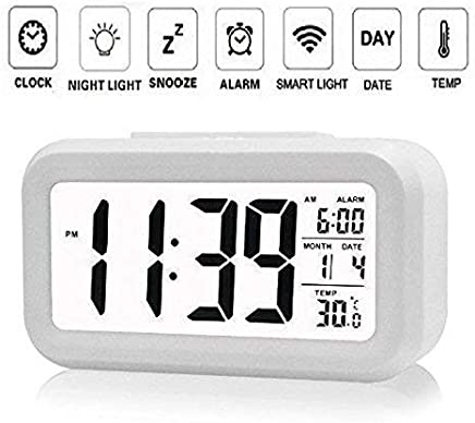 Wazdorf Digital Smart Backlight Alarm Clock with Automatic Sensor,Date & Temperature , alarm clocks for bedroom , digital clock for home , digital clock with alarm , alarm clocks for students , digital clock for table