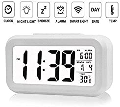 Wazdorf Digital Smart Backlight Alarm Clock with Automatic Sensor, Date and Temperature for Bedroom , Home , Students, Table (Multi-colour )