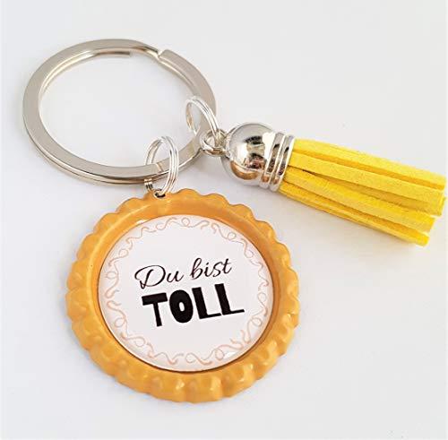 Schlüsselanhänger Kronkorken – Du bist toll & Quaste Tassel – verschiedene Farben - Individualisierbar -Handmade