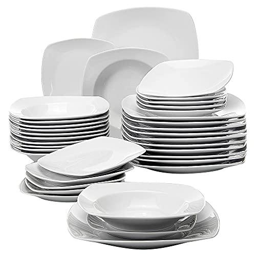 MALACASA, serie JULIA, 36 piezas Vajillas de Porcelana Juegos de Vajillas con 12 Platos de la Cena, 12 Platos de Postre, 12 de placas de Sopa para 12 Personas