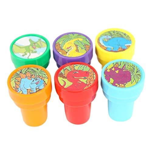 STOBOK Mini briefmarken dinosaurier tier kreatur kunststoff stampfer für kinder schule preise requisiten spielzeug-6 stücke