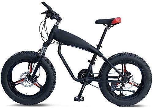 AYHa 20-Zoll-Mountainbikes, 30-Gang Overdrive Fat Tire Fahrrad, Junge Frauen Alurahmen Hardtail Mountainbike mit Federgabel,Schwarz,3 Spoke