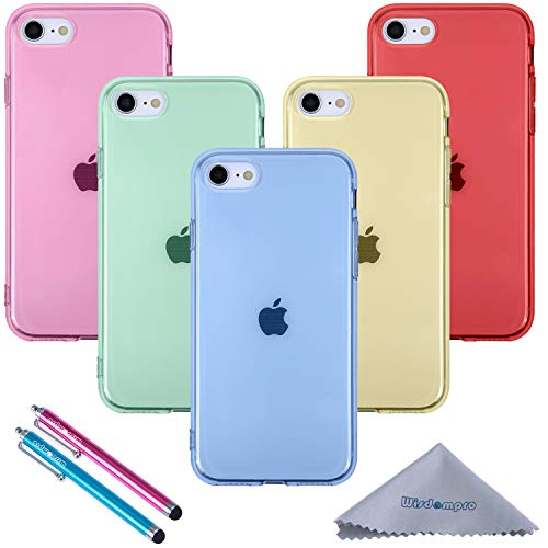 iPhone SE 2020 Case, iPhone 8 Case, iPhone 7 Case, Wisdompro 5 Pack Bundle Clear Jelly Colorful Soft TPU Gel Slim Fit Protective Case Cover for iPhone SE2/8/7 (Blue, Aqua Blue, Hot Pink, Yellow, Red)