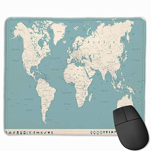 Muiskussen, Desk Mousepad, Muiskussens, Muismat Beige Europa Vintage Wereldkaart en Markers Gedetailleerd Blauw Afrika