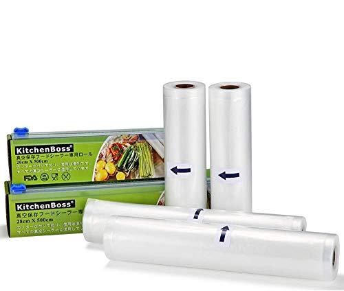 KitchenBoss 真空ロール 真空パック袋 カットボックス カッター付き 真空ビニール 真空パック機 真空パックん 替えロール 真空包装 シーラー袋 鮮度長持ち 食品保存 低温調理 家庭用 業務用 (20*500cm 2本 28*500cm 2本)真