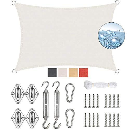 GOUDU Toldo Vela de Sombra 2.5x3m Toldo Vela IKEA Protección UV 95% Kit de Fijación para Exteriores Patio, el jardín, protección UV, Blanco