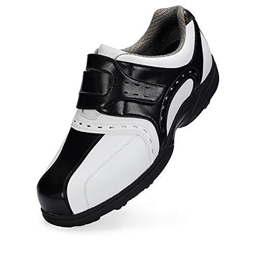 CGBF-Men's Golf Shoes Kinder Golfschuhe Outdoor Casual Walking Trainers, Waterproof Breathing No-Slip Lace-Up Running Shoes,Schwarz,36 EUR/4.5 UK/5.5 USA