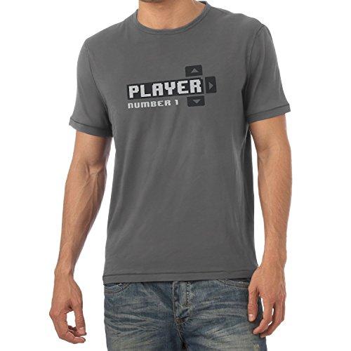 NERDO Player Number 1 - Herren T-Shirt, Größe S, Grau