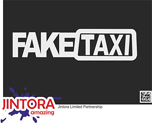 JINTORA Autocollant de Voiture - Faux Taxis - Faketaxi - Fake Taxi - Autocollant de Voiture et décalcomanies - 210x53 mm - JDM - Die Cut - Voiture - vitre - Ordinateur Portable - fenêtre - Argent