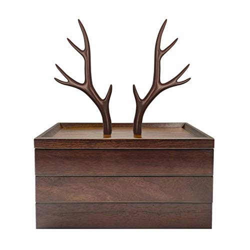 Schmuckschatulle Geburtstagsgeschenk Schmuckschatu Caja de joyería Organizador de joyería de madera 3 Negocio de joyería Soporte de árbol, resina y joyería de madera Caja de almacenamiento de pantalla