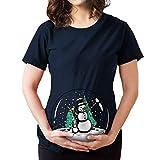 Señoras Camiseta De Maternidad De Navidad Cuello Redondo Corta Vintage Manga De Maternidad Remata Patrón Bola De Cristal Chica Muñeco De Nieve Navidad Maternidad Camiseta
