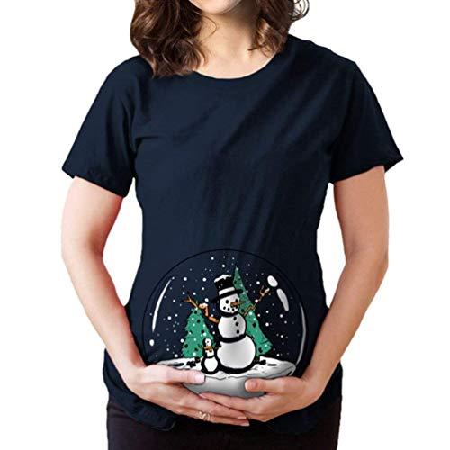 Señoras Camiseta De Maternidad De Navidad Cuello Redondo Corta Vintage Manga De Maternidad Remata Patrón Bola De...