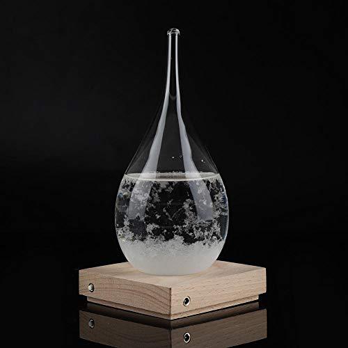 Cuque 【𝐂𝐡𝐫𝐢𝐬𝐭𝐦𝐚𝐬 𝐆𝐢𝐟𝐭】 Transparentes Wassertropfen-Sturmglas, tropfenförmige Sturmflasche Desktop-Wetterstation Predictor mit LED-Holzsockel