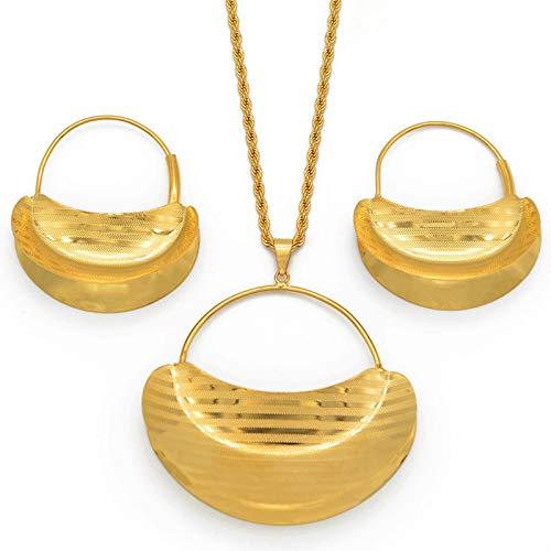 Juego de colgante de oro para mujer de Fulani de África, regalo de boda #207206