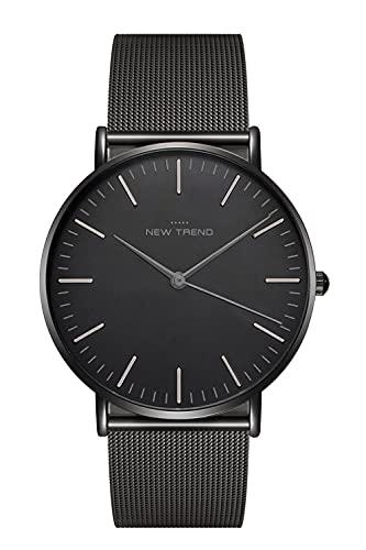 New Trend Unisex Armbanduhr Schwarz Damen-Uhr Herren-Uhr, Analog Uhr, Leder-Armband, Nylon-Armband, Metall-Armband, Edelstahl-Armband (Schwarz Metallarmband)