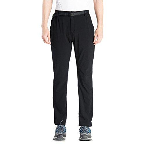emansmoer Homme Respirant Quick Dry Élastique Longue Pantalon Outdoor Sport Pantalons de Camping Randonnée Escalade (Large, Noir)