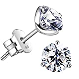 'STUNNING FLAME' 18K Gold Plated Silver Brilliant Cut Simulated Diamond Cubic Zirconia Stud Earrings(white-gold-plated-silver, 0.9)