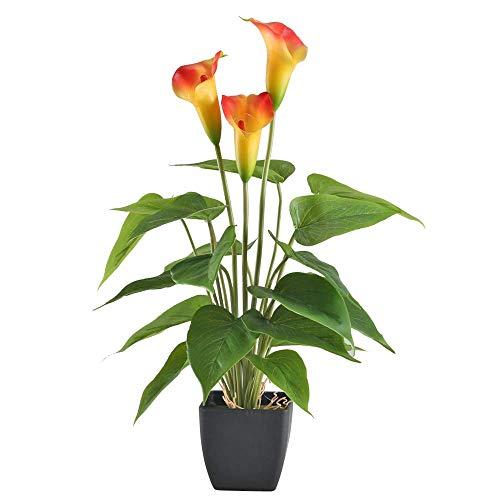 NAHUAA Künstliche Pflanze Calla Lily Künstliche Anthurium Pflanze im Topf Plastikblumen Unechte Blumen für Innen-Außen Balkon Garten Zuhause Dekoration Orange