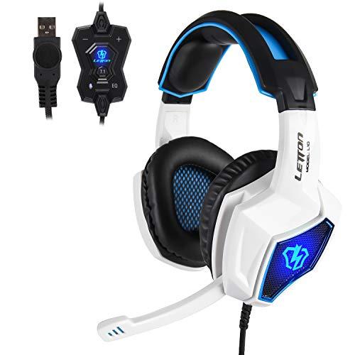 PC Gaming Kopfhörer,Spirit Wolf 7.1 Surround Sound Stereo Stirnband Kopfhörer mit Mikrophon, Professionelle PC USB Gaming Headsets für Gamers (wei/blau)