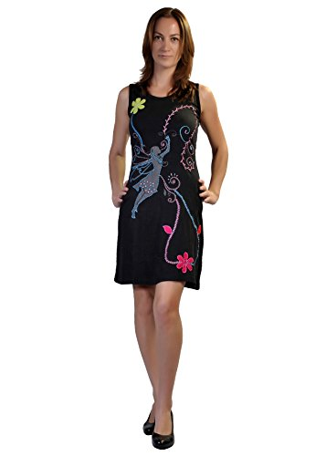TATTOPANI Damen - Sommer - Sleeveless Kleid mit Stickerei, Patch & Spiral Print Design