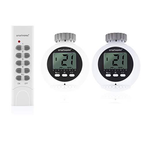 Smartwares SHS-53002-EU SmartHome-Set 2 x Drahtlose Heizkörperthermostate und 1x Fernbedienung 1-Kanal