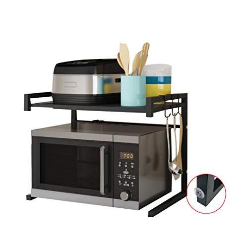 Mikrowellenherd aus Kohlenstoffstahl, Erweiterbares Mikrowellen Regal, 2-stufiges Platzsparregal und Organizer für Küchenarbeitsplatten mit 3 Haken, 110 lbs Gewichtskapazität, Schwarzer U-Typ