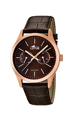 Lotus 15958/2 - Reloj para Hombre, Cuarzo, analógico, con manecillas Luminosas, Correa de Piel marrón