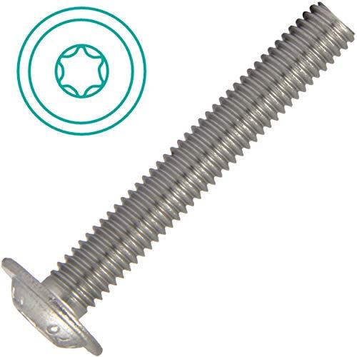 Linsenkopfschrauben mit Flansch TORX M8x50 Vollgewinde (10 Stück) aus Edelstahl A2 (V2A) ISO 7380 Flachkopfschrauben TX Flanschschrauben   AG-BOX®