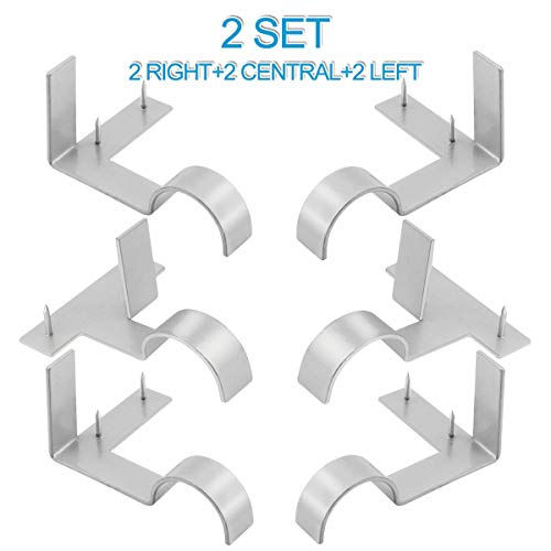 Excelloon 2 Set (6Pcs) Single Curtain Rod Holder, Silver, No Drill Curtain Rod Brackets Set for Bedroom & Home, Tap in Window Frame