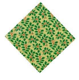 Torta Natale Scheda 25.4cm Quadrato - Oro con Verde Agrifoglio