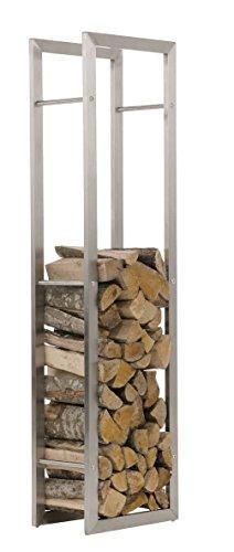 CLP Kaminholzregal KERI aus Edelstahl I Robuster Kaminholzständer mit Bodenschonern I Holzbutler in bis zu 8 Größen wählbar 25 x 40 x 150 cm