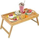 Jibanie Bamboo Bed Breakfast Folding Tray-Laptop Desk Great for Dinner Tea Bar TV Eating Tray Stable(Beige)
