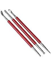 3 piezas de herramienta de piel para prensar ruedas, herramienta de cuero para modelar cuchara y tallar, herramienta de prensado de estampado de espirales, bola de cuchara herramienta de prensa