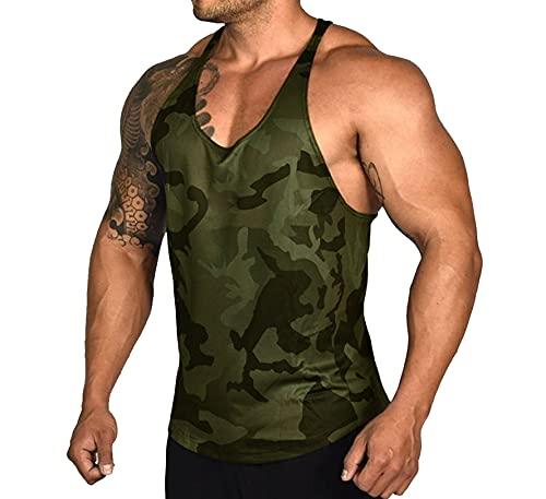Camiseta sin mangas de algodón para hombre, diseño de camuflaje