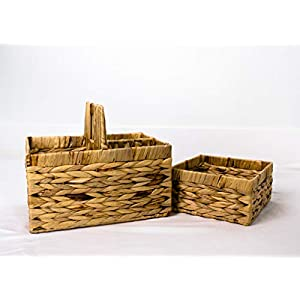 Diaper Caddy Organizer – 2-in-1 Large Nursery Basket – Natural Water Hyacinth, Portable, Sturdy – Made for Baby Changing Table Essentials by Elms & Olive