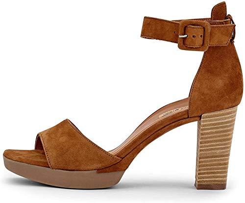 Paul Green Damen Sandalette 7618, Frauen Riemchensandalen, Freizeit Sandalette sommerschuh Sommersandale Absatz weibliche Lady,Caramel,39 EU / 6 UK