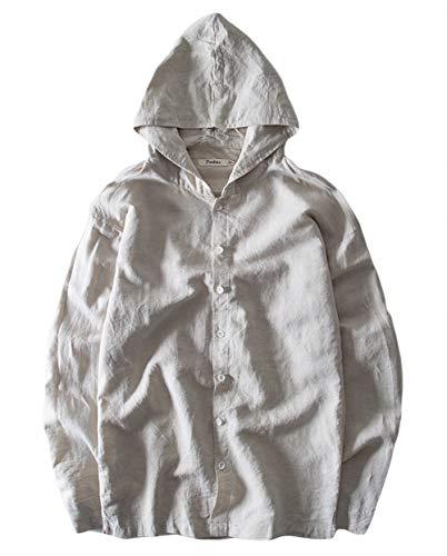 Icegrey Homme Chemise à Capuche en Lin Sweatshirt à Manches Longues Beige 44