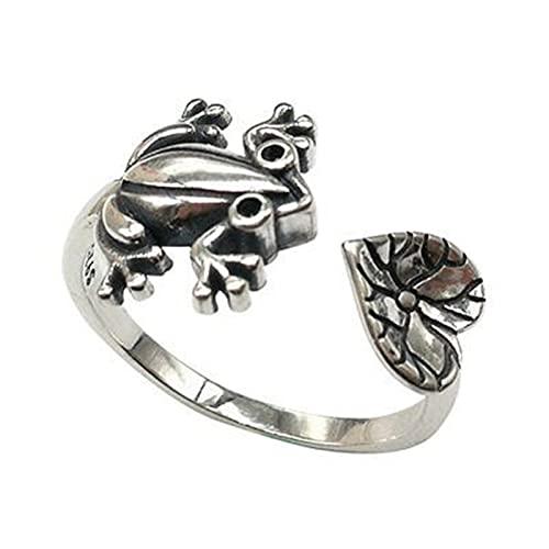 Delisouls Anillo abierto de rana con hoja de loto, figura de animal vivo joyería de dedo de metal, regalo de estilo retro ajustable para mujeres y hombres