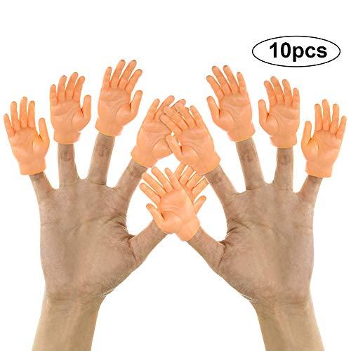 URFEDA Finger Hands Kleine Hände Fingerpuppen Fingerhände für Finger Props Halloween Hand Mini Finger Hände Zaubertricks Lustige Handpuppe für Familie Freund Spiele Party Fingerpuppe 10 Pcs