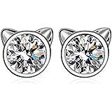 YFN Cat Stud Earrings 925 Sterling Silver Cubic Zirconial Ear Stud Earrings for Girls (April-White Zircon)