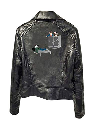 Stranger Things Jacke Damen, Teenager Mädchen Stranger Things Season 3 Lederjacke Slim Fit Coole Leder Jacket Hip Hop Bauchfreier Winterjacke Jäckchen Kurz Crop Tops Outwear Pullover (Schwarz,2XL)