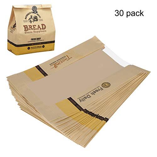 Brottasche 30Pcs Backen Verpackung Transparenter Toastbeutel Kraftpapier Fettdichte Papiertüte Toaster Beutel Verdicken Große Brot Sandwichbeutel Geschenktütefür Backen Brot Sandwich Toast