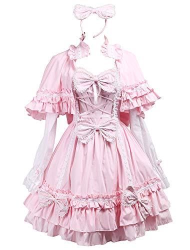 Antaina Rosa Baumwolle Flieges Rüsche süß viktorianisch Knielang Elegant Lolita Kleid mit Kopfschmuck,XXL