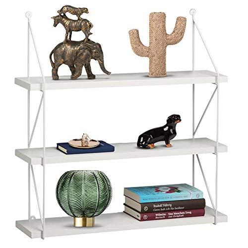 Bakaji boekenkast, wandrek, modern design, 3 planken, van MDF-hout, frame van metaal, kantoor (wit)