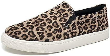 Soda Women's Reign Slip-On Sneakers (8 M US, Oatmeal Cheetah)